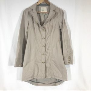 Free People Trench Coat Khaki Beige Size 4 Floral